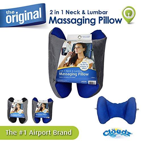 Cloudz 2 in 1 Neck & Lumbar Massaging Travel Pillow - Blue -