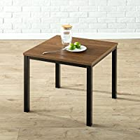 Priage Soho Woodgrain Finish Wood and Steel End Table