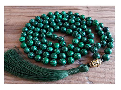 IndianStore4All Certified Green Malachite Japa Mala (Necklaces) 108 + 1 Buddha Knotted Beads Rosary