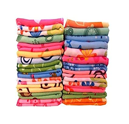 Lucky Cotton Face Towels - Pack Of 24 (Multicolour, 12X12-Inch)