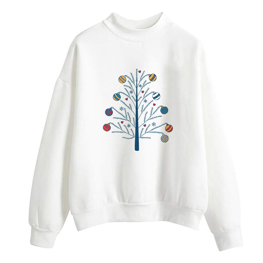 Tops for Women 3/4 Sleeve,Women's Plus Sweaters,Christmas Print Ladies Blouse Pullover Tops,White,L