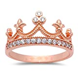 Rose Gold Plated Cubic Zirconia Crown .925 Sterling Silver Ring Sizes 8