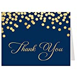 Sophisticated Sparkle, Bridal Shower Thank You Cards, Navy, Gold, Thank You, Confetti, Polka Dots, Bridal Shower, Wedding Shower, 50 Printed Folding Notes with White Envelopes