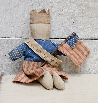 Homespun Americana Liberty Doll Country Primitive Decor 8 Inch