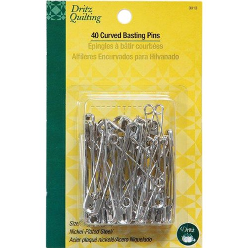 Dritz Quilting Basting Pins - Dritz 3013 Curved Basting Safety Pins, Size 3 (40-Count)