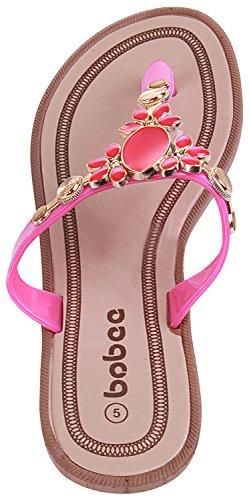 On Flat Flop Enimay Thong 136 Strap Slip Sandal Pink Flip Rhinestone PwxCBZ