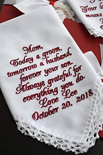 Wedding gift for Mother of the Groom from son, Mother son gift Wedding handkerchief Wedding keepsake Personalized hankies Embroidered hankie Wedding favours Today a Groom Tomorrow a husband