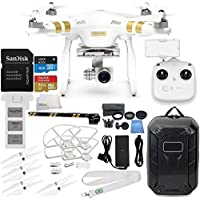 DJI Phantom 3 Professional Quadcopter with 4K Camera and 3-Axis Gimbal & Manufacturer Accessories + DJI Propeller Set + Water-Resistant Hardshell Backpack + MORE (DJI Official Refurbished)