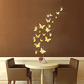 Amaonm 21 PCS Removable Crystal Acrylic Mirror Butterfly Wall Decals Fashion DIY Home Decorations art Decor & Amaonm 21 PCS Removable Crystal Acrylic Mirror Butterfly Wall Decals ...