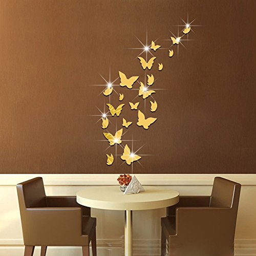 Amaonm 21 PCS Removable Crystal Acrylic Mirror Butterfly Wall Decals Fashion DIY (Butterfly Nursery Room)