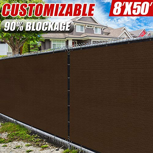 Amgo 8' x 50' Brown Fence Privacy Screen Windscreen,with Bindings & Grommets, Heavy Duty for Commercial and Residential, 90% Blockage, Cable Zip Ties Included, (Available for Custom Sizes)