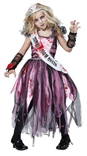 Kids Zombie Halloween (California Costumes Zombie Prom Queen Costume, Pink/Black, Medium)