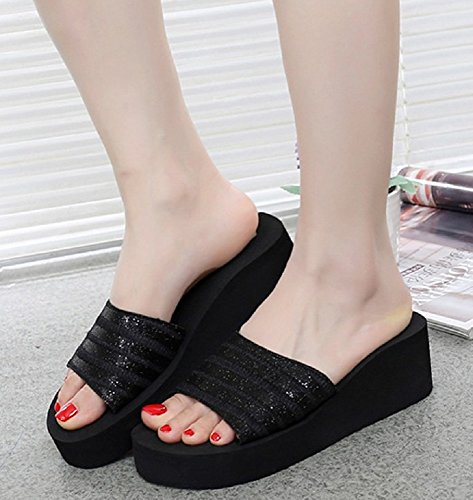 bettyhome Women Girls Summer Sequins Comfortable Thongs Casual Wedges Sandals Beach Slippers Black 8QVMxe3H