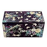 Mother of Pearl Inlay Art Four Noble Plant Flower Design Twin Cubic Lacquer Wooden Black Secret Jewelry Trinket Keepsake Treasure Gift Box Case Chest Organizer