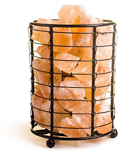 HemingWeigh Himalayan Salt Chips, Lamp in Metal Cylinder Electric Wire & Bulb Included (6 inc)