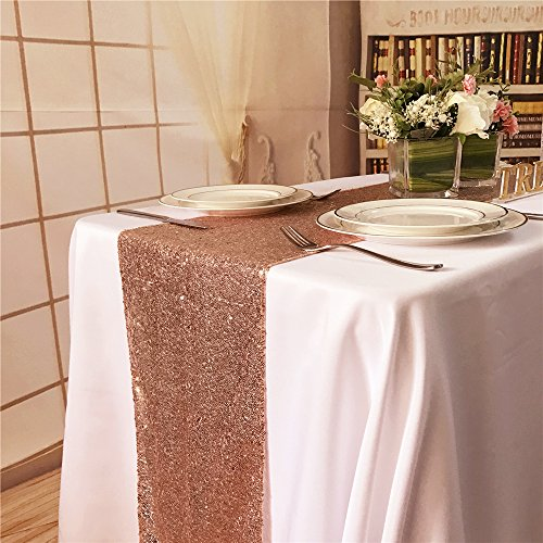 BalsaCircle TRLYC 12 by 60-Inch Rose Gold Wedding Sequin Table Runners for Baby Shower