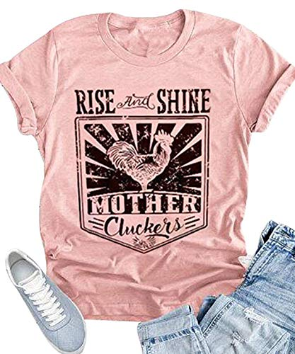 (Rise and Shine Mother Cluckers Graphic T Shirt Womens Cute Funny Letter Print Farm Country Vintage Casual Tops Shirt (X-Large, Pink))
