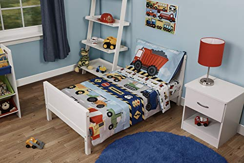 Funhouse 4 Piece Toddler Bedding Set - Includes Quilted Comforter, Fitted Sheet, Top Sheet, and Pillow Case - Construction Car and Truck Design for Boys Bed