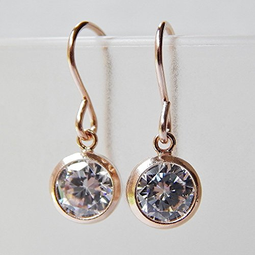 Bezel CZ Dangle Earrings Rose Gold Filled Gold Filled Bezel