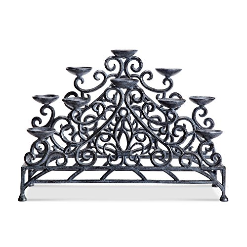 Viridian Bay Fontaine Collection Stylized Fleur de LYS Fireplace Candelabra (Zinc Finish)