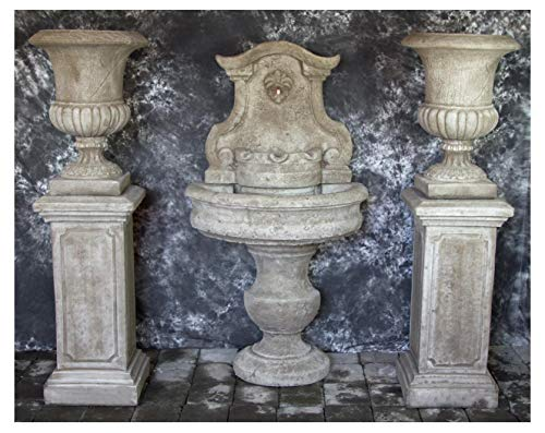 Fleur de Lis Garden Ornaments LLC Palermo Wall Fountain with Italian Palazzo Urns on Pompeii Pedestals Package Number 1046 ()