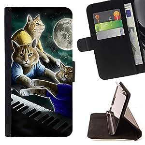 """For Samsung Galaxy J1 J100,S-type Gatos Arte Plan de pintura Luna"""" - Dibujo PU billetera de cuero Funda Case Caso de la piel de la bolsa protectora"""