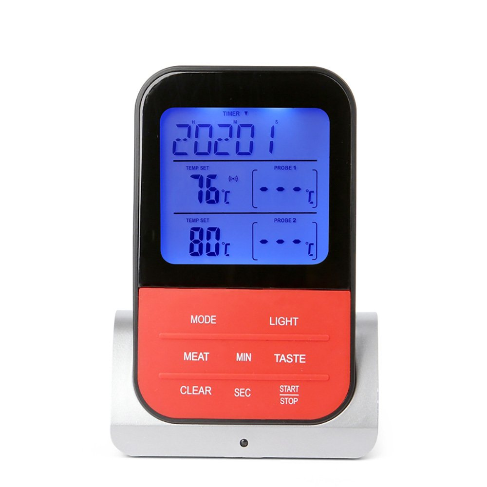 Wireless Barbecue Thermometer,iDeep Digital Meat Thermometer Cooking Thermometer Food Thermometer Instant Read Screen Timer Alert Function about 98 Feet Range with 2 Probe for BBQ Oven Picnic Kitchen by iDeep (Image #3)