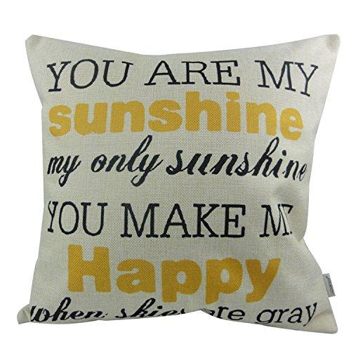 LAZAMYASA Cotton Linen Decorative Throw Pillow Case Cushion Cover Cute Letters Pillowcase 18