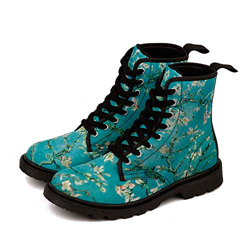 Van Gogh Almond Blossom Women Martin Boots Men Canvas Shoes (10 M US Women / 9 M US Wen /CN42, Blue MD002C)