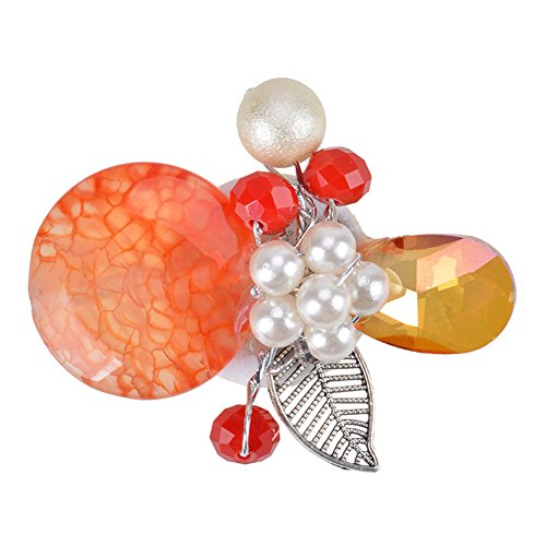 Acrylic Pearl Flower Brooch (Exquisite Handmade Pearl Flower Leaf Charm Brooch Pin Banquet Brooch for Women Girls Fashion Accessory)