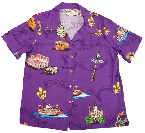 Mardi Gras Hawaiian Shirts - Mens Hawaiian Shirts - Aloha Shirt - Hawaiian Clothing - 100% Rayon Purple Medium