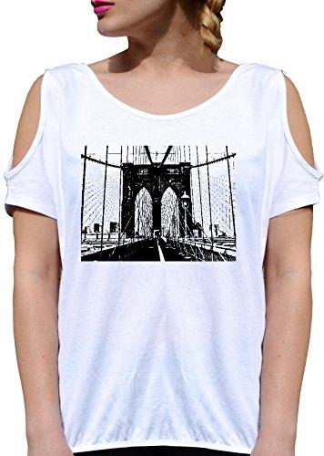 T SHIRT JODE GIRL GGG27 Z2770 BRIDGE CITY AMERICA DRAWING URAN STYLE FUNNY FASHION COOL BIANCA - WHITE L