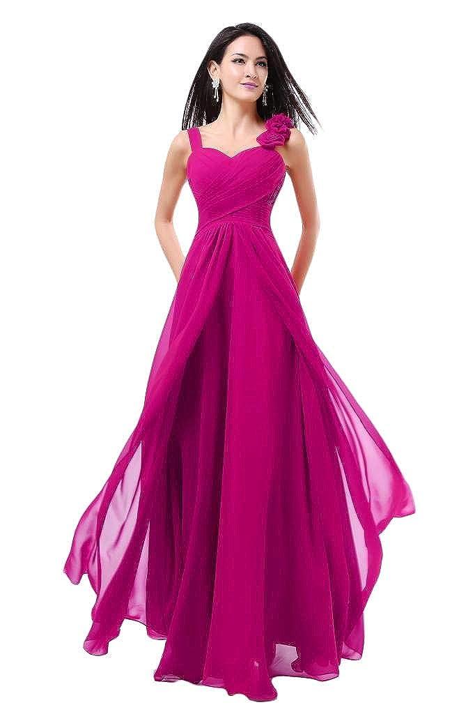Fuchsia Baixia Womens Formal Flower Straps Long Evening Prom Wedding Bridesmaid Dresses