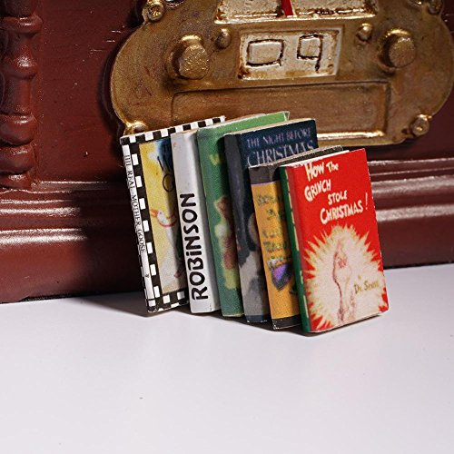 Scale Dollhouse Miniature Book (SharpointHome 6 PCS Dollhouse Miniature Books 1/12 Scale Dollhouse Miniature Colorful Wooden Books Colorful Miniature Dollhouse Decoration Books)