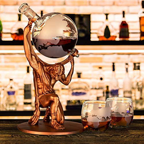 Atlas Man Whiskey Decanter Globe Set - With 2 Etched Globe Whiskey Glasses - For Whiskey, Scotch, Bourbon, Cognac and Brandy - 1000ml by NatureWorks (Image #4)