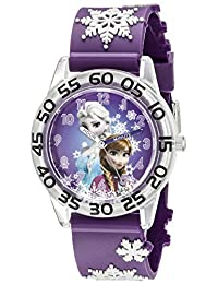 Disney Kids' W002431 Frozen Anna & Elsa Time Teacher Analog Display Analog Quartz Purple Watch
