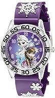 Disney Kids' W002431 Frozen Anna & Elsa Time Teacher Analog Display Analog Quartz Purple Watch