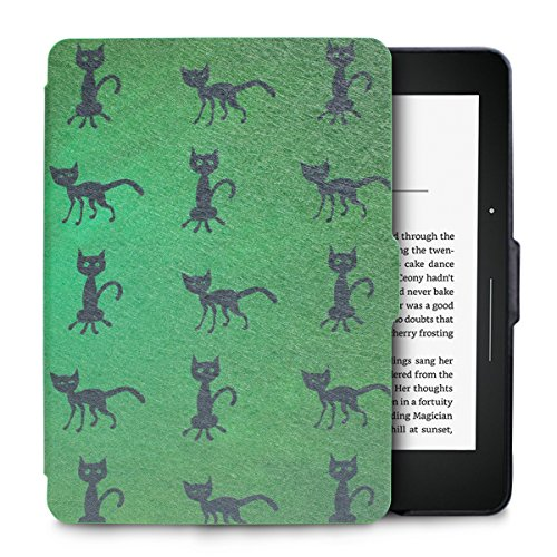 WALNEW Protective Case for Amazon Kindle Voyage(2014)-The Thinnest and Lightest Colorful Painting PU Leather Cover with Auto Sleep/Wake Function,Black Cat
