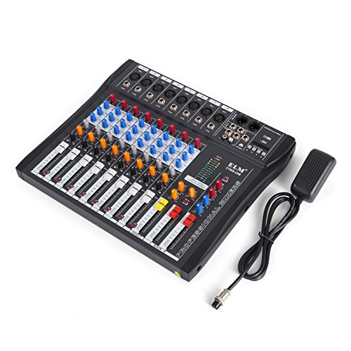 VEVOR 8 Channel Audio Mixer with 48V Phantom Power Mixing Console USB MP3 Audio Sound Mixer for Recording DJ Stage Karaoke Music Appreciation Channel Audio Mixing Console