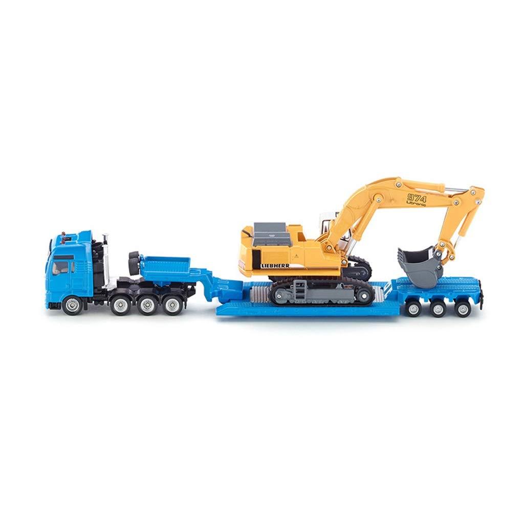 LIUFS-Legierung Auto Spielzeugauto-Modell-Simulationsbus-Passagierlegierung Spielzeugauto-Modell-Simulationsbus-Passagierlegierung Spielzeugauto-Modell-Simulationsbus-Passagierlegierung - Pritschenanhänger Mit Bagger SKUC1847 ( Farbe   Blau ) aa1d37