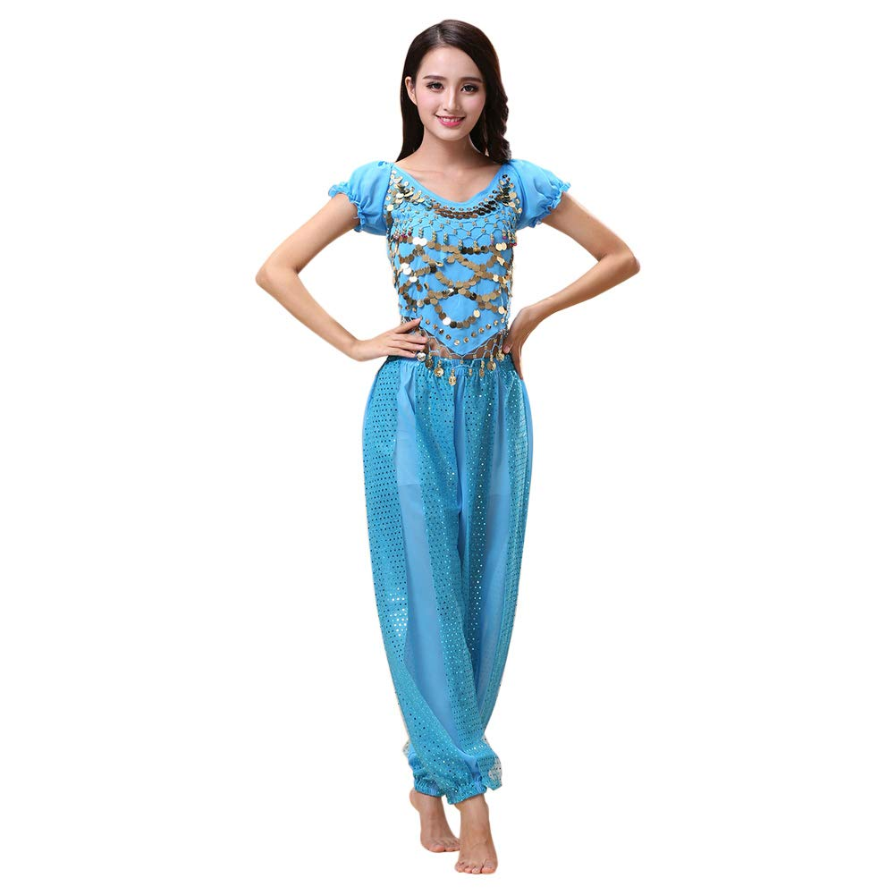 f042767c5 Amazon.com: Xinvivion 2 Pieces Belly Dance Costume Indian Dance Performance  Clothes for Women: Clothing