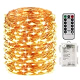 LightsEtc 200 Fairy String Lights Battery Operated Waterproof Twinkle Led String Lights Remote Control Timer 8 Modes 66ft Copper Wire Firefly Lights Halloween Thanksgiving Christmas Decor Warm White: more info