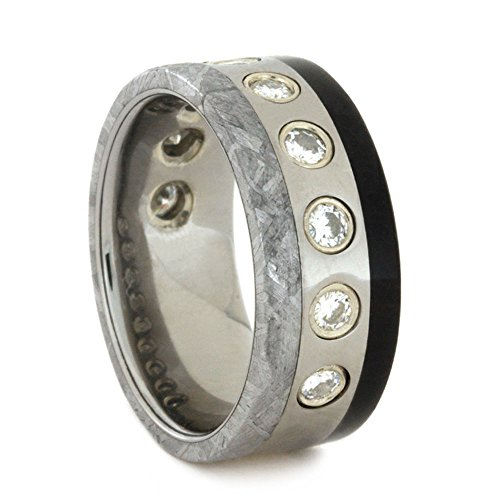 Charles & Colvard 9-Stone Moissanite, Gibeon Meteorite, African Blackwood 8mm Comfort-Fit Titanium Wedding Band, Size 9 by The Men's Jewelry Store (Unisex Jewelry)