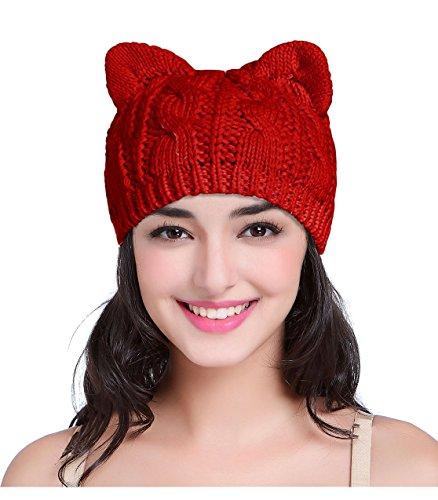 V28 Women Men Girls Boys Teens Cute Cat Ear Knit Cable Xmas Hat Cap Beanie Kitten Red Medium