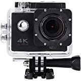 Acouto HD 4k 16P 2 Inch 170°Wide Angle Wifi Action Camera Sport Camera 30m underwater Camcorder DV Recorder with Waterproof Case Accessories Kit (Black)