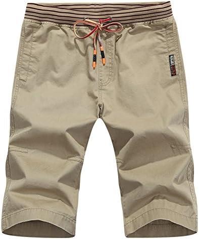 Khaki L WDDGPZDK Strand Shorts Sommer Lässige Shorts Men Baumwolle Bequem Solide Männer Shorts Knielange Hohe Qualität