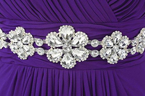 Vantexi Women's Beaded Straps Bridesmaid Long Prom Dresses Purple 14