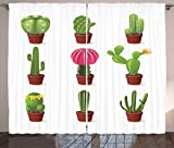 Cactus Curtains by Ambesonne, Digitally Composed Barrel Echino Chin Hedge Cephalocereus Cactus Varieties Cartoon, Living Room Bedroom Window Drapes 2 Panel Set, 108 W X 96 L Inches, Multicolor