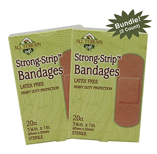 All Terrain Heavy Duty Strong Strip Bandage 1.0 X 3.25 Inch, 20 Count (2 Pack Bundle) Latex Free, Heavy Weight Fabric Adhesive Bandages, Latex-Free, Sterile, Non-Stick Pads, Cotton Fabric Bandages