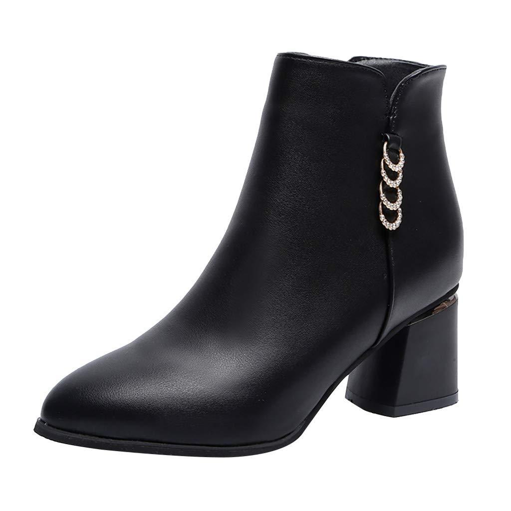 Redacel Women Low Heel Ankle Boot Casual Zip Up Bootie Comfortable Everyday Round Toe Bootie (39,Black by Redacel
